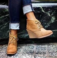 brown wedge lace up